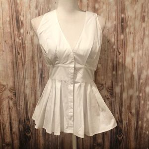 Boston Proper White Peplum Blouse Size 8